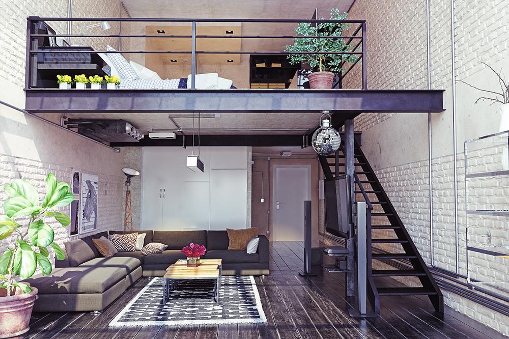 Espaço para morar com escada metálica preta, paredes sem acabamento e piso laminado de madeira